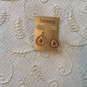 NWT Francescas gold and rhinestone Earrings